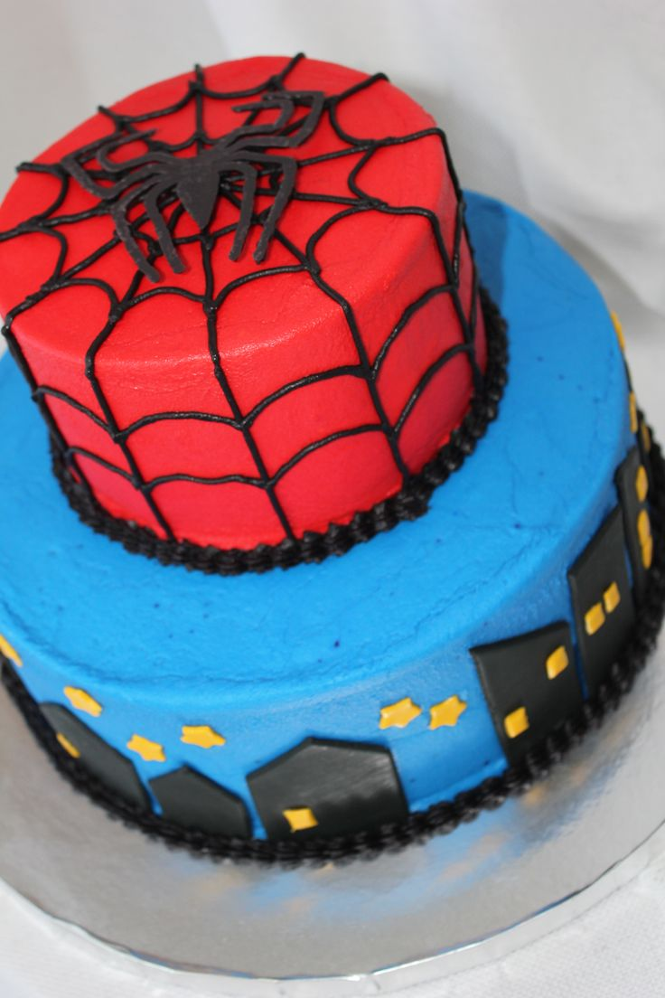 Spiderman cake made from buttercream with fondant and chocolate accents - by Cake Occasion