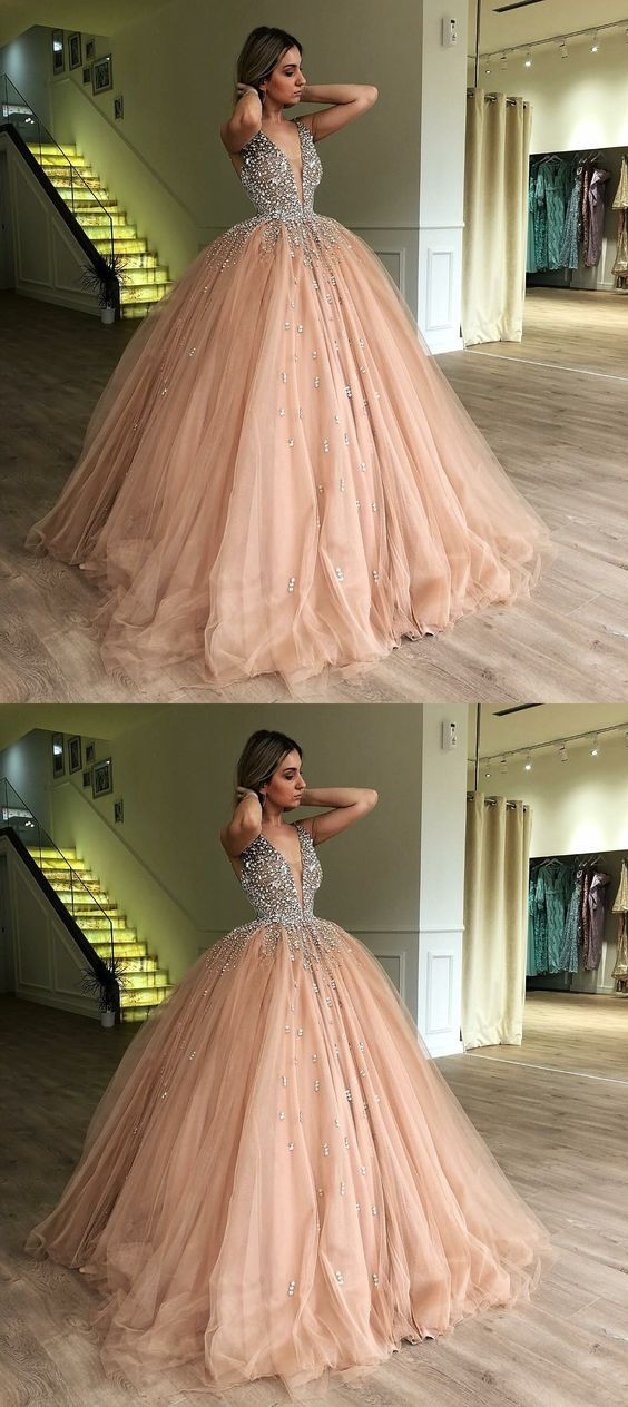 2a3efa4b618 Ball Gown Deep V-Neck Low Cut Champagne Quinceanera Dress with Beading M5692