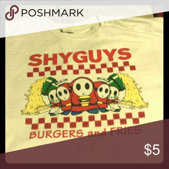 Shy Guy t-shirt Video game t-shirt referencing Five Guys restaurant Shirts Tees - Short Sleeve