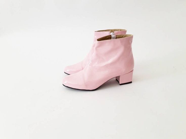 Pink patent leather booties