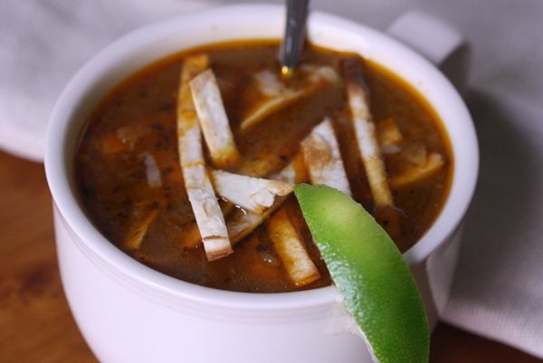 Hey college vegetarians-- this tortilla soup won't disappoint!