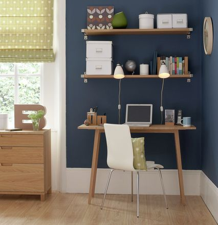 corner home office w/ navy wall