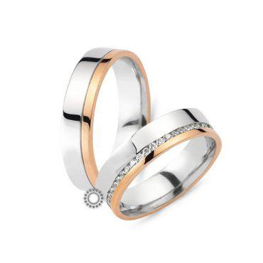 Γαμήλιες βέρες CHRILIA 23 επίπεδες και λουστρέ λευκές που καταλήγουν σε ροζ τελείωμα με διαμάντια ανάμεσα αν θέλετε | Βέρες ΤΣΑΛΔΑΡΗΣ στο Χαλάνδρι #βερες #γάμου #wedding #rings #Chrilia