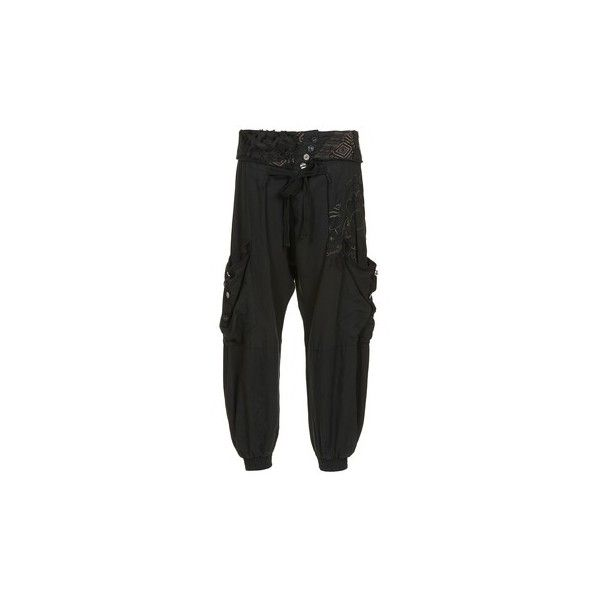 Desigual PERLA Harem Trousers (£90) ❤ liked on Polyvore featuring pants, black, trousers, women, harem pants, harem trousers and desigual