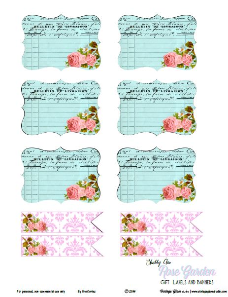 Planners and Journalings Printables   FREE Shabby Chic Rose Garden Labels   Free Printable Download