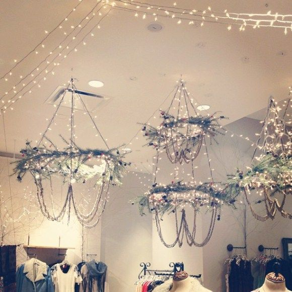 free people holiday display- chandeliers