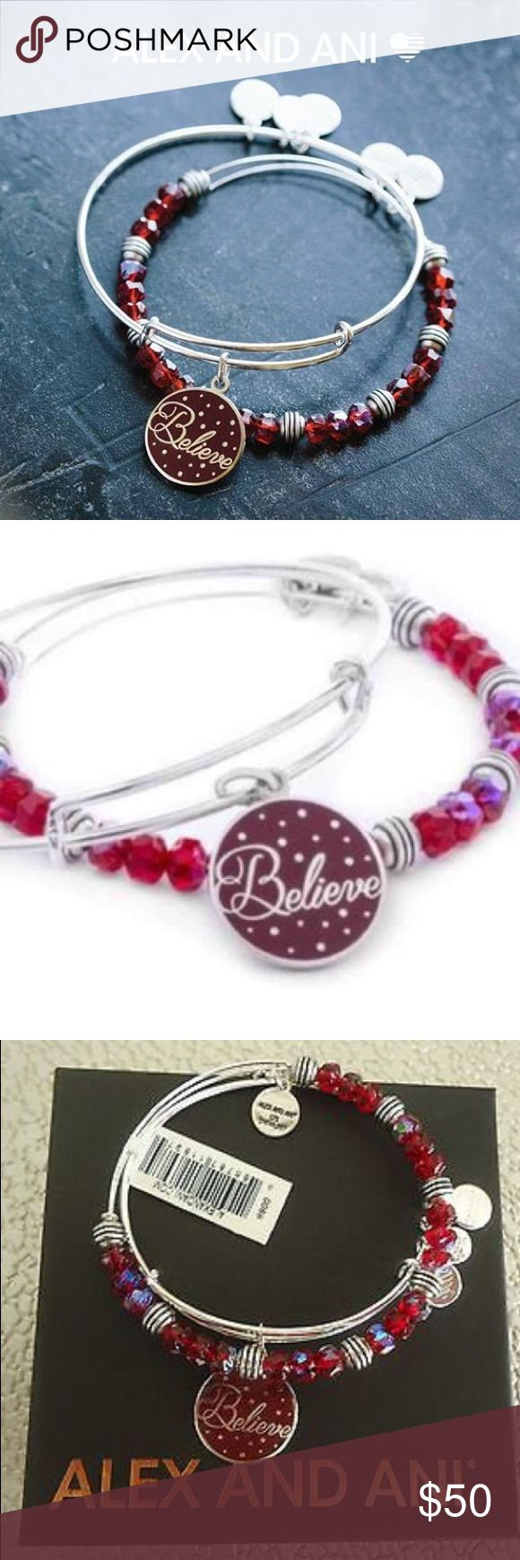 "Alex and Ani Holiday ""Believe"" 2 Bracelet Set New with tags! This set features two festive bangles that will accent your charmed arm beautifully. One bangle showcases a charm with the word ""Believe"" inscribed over rich, wine colored enamel. Accenting this charm is a matching bangle with crimson stones and silver-tone beads.  This bangle set can be worn on its own or stacked with other bangles that hold significant meaning to you. Crafted in Shiny Silver Finish, these bangles are expandable…"