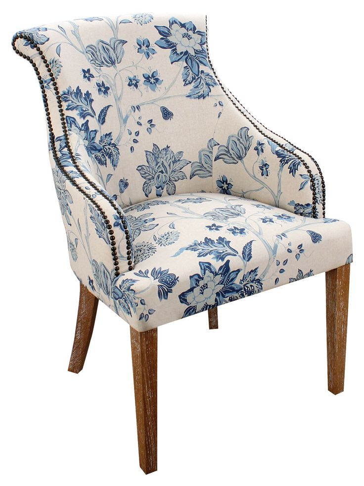 Fabric chair with blue flowers print and wooden legs
