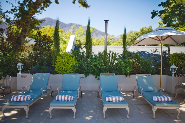 Inviting sunbeds at The Last Word Franschhoek. Recline on the balcony...