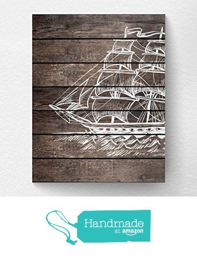 Sailboat Wall Art Print Nautical Home Decor, Pirate Ship Print, Nautical Nursery - NOT REAL WOOD from Lotus Leaf Creations