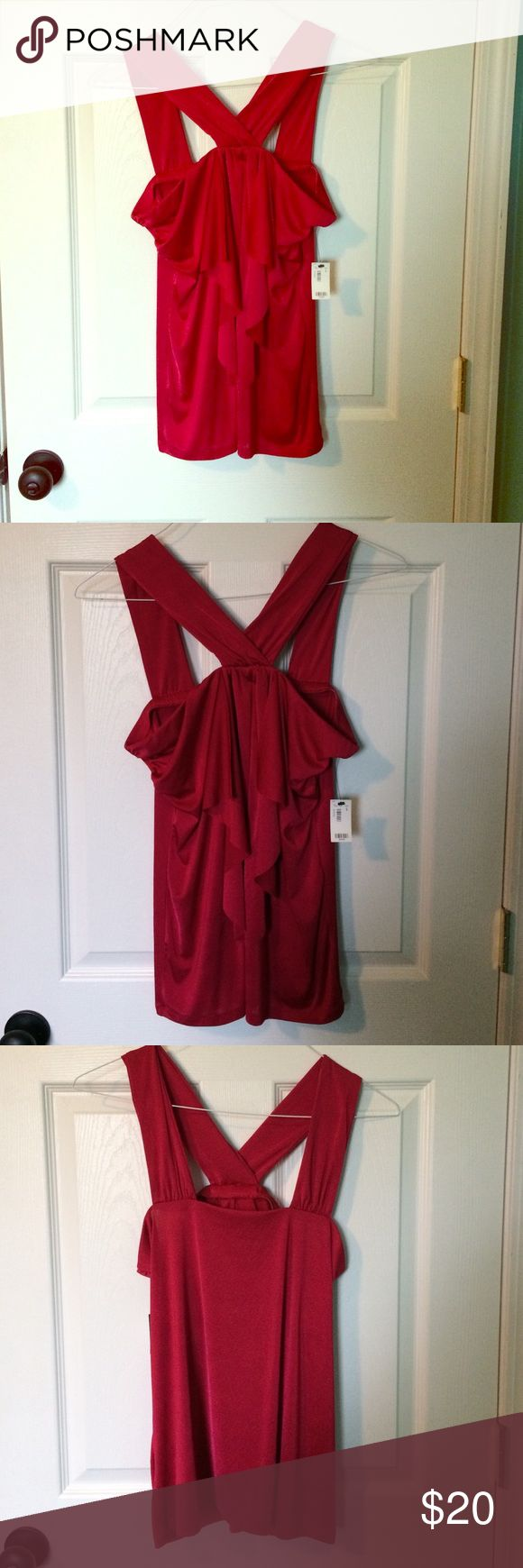 Sexy Red Top - Perfect for Valentines Elegant red strappy top with flattering front ruffles.  Never worn with tags.  Size L The Limited Tops