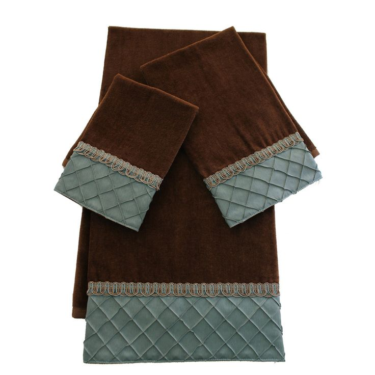 Sherry Kline Pleated Diamond Brown Blue Embellished 3 Piece Towel Set By Sherry Kline Decorative Bathroom