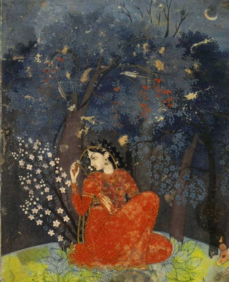 Utka Nayika. A lady awaits her lover in the forest. ca 1775-1780 Kangra painting