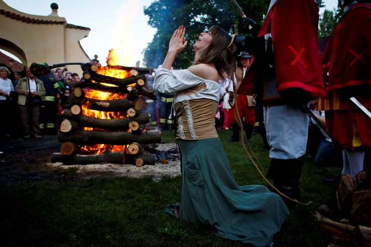 Ah, spring! How the world celebrates May Day - Walpurgis Night, named after St. Walpurga, is celebrated in countries in central and northern Europe; it is traditionally marked with bonfires and the ritual burning of a straw witch as well as dancing.  (Pictured) An amateur actor, dressed as a witch, re-enacts a tale about witch-burning during festivities on Walpurgis Night at Kampa Park in Prague, Czech Republic.