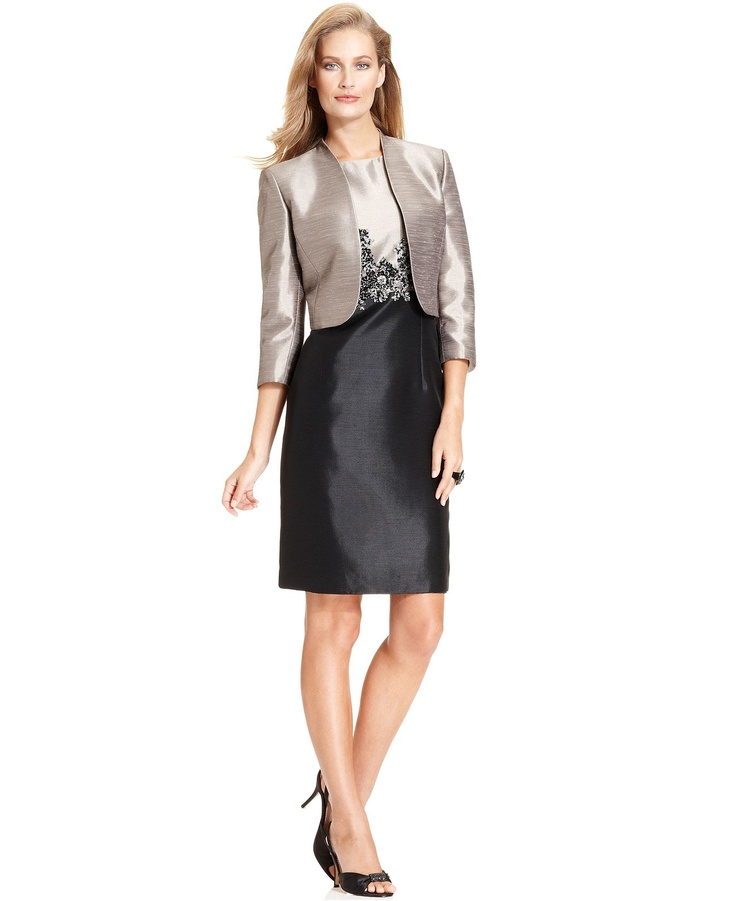 Kasper suit cropped jacket colorblock shantung sheath for Womens dress jacket wedding