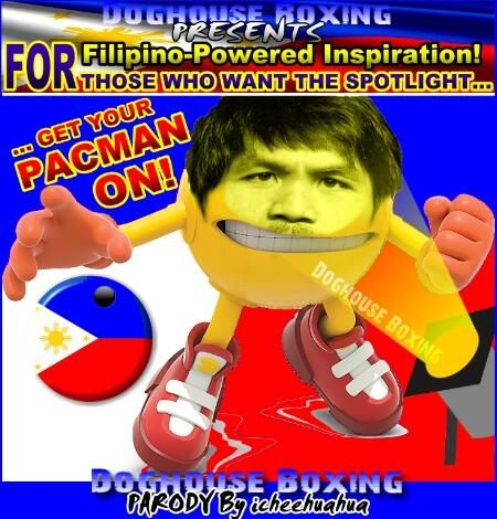 """A """"parody"""" of boxer Manny Pacquiao using PAC-MAN images."""