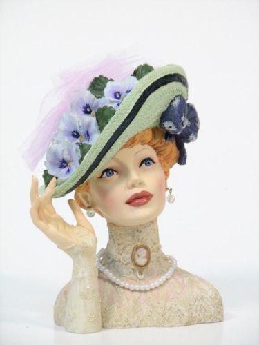 """Cameo Girls Head Vase Abigail 1911 """"Easter Bonnet"""""""