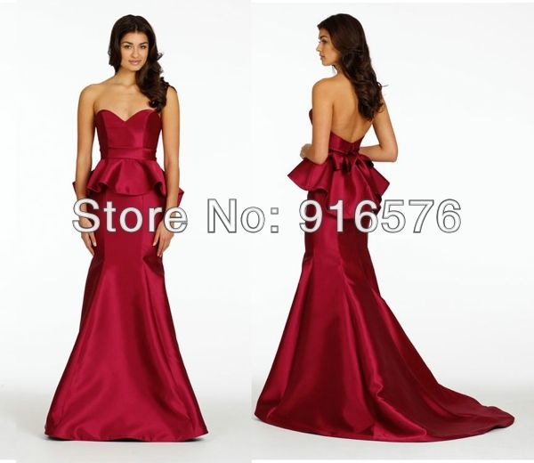 Sexy New 2014 Trumpet Bridesmaid Dresses Low Back With Peplum Skirt Sweetheart Neckline Long Party Spring Wedding Guest Dress