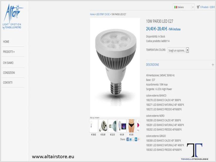 LED LAMPS ALTAIR STORE:E-COMMERCE PER SISTEMI DI ILLUMINAZIONE A LED / E-COMMERCE SYSTEMS LED LIGHTING WWW.ALTAIRSTORE.EU
