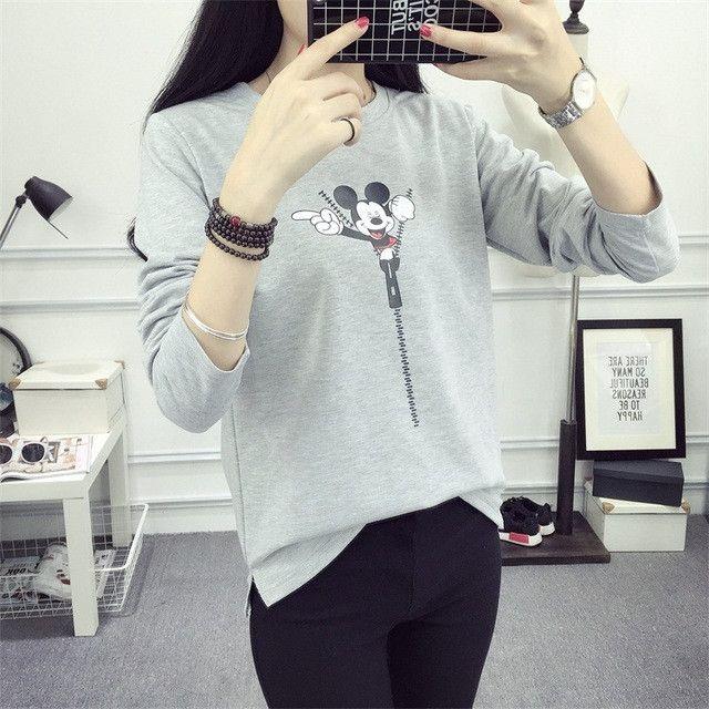 2016 New Fashion Women Autumn & Winter Hoodies Cute Cartoon Minnie Pattern Casual Sweatshirt Ladies Long Sleeve slit Sweats Tops