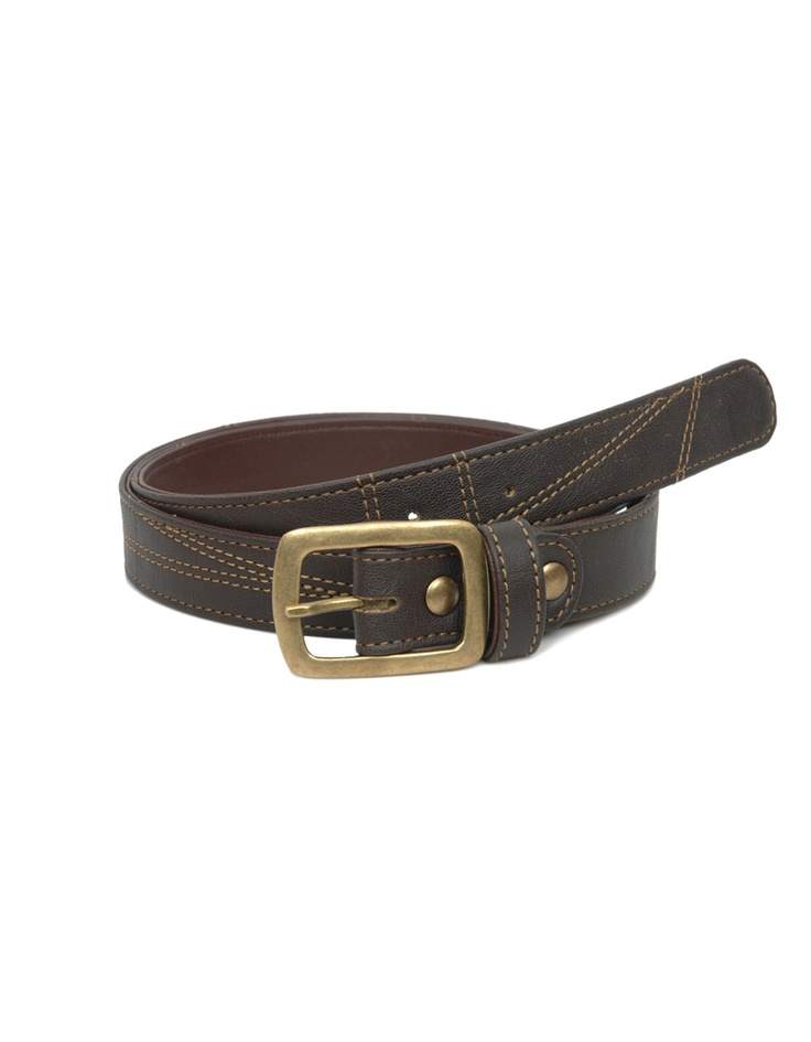 An intriguing dark chocolate toned belt by Baggit sporting stitchwork.