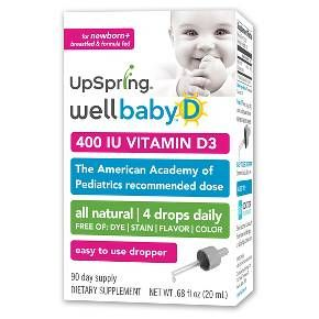 The American Academy of Pediatrics (AAP) recommends all breastfed babies receive a vitamin D supplement beginning the first few days of life. Hello UpSpring Baby D! Our new, all-natural, liquid vitamin D supplement gives your baby the all-natural vitamin D they need.