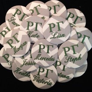 Custom Rho Gamma order, Pin these on your backpack during recruitment! Perfect since you can't wear your letters. #recruitment #tailgatecreations #panlove