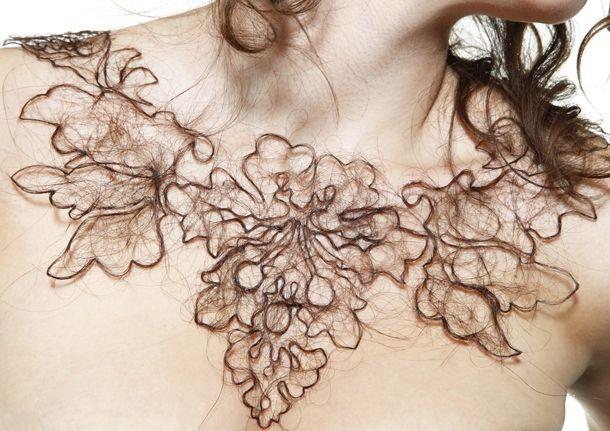 Kerry Howley, Attraction/Aversion jewellery collection made of hair