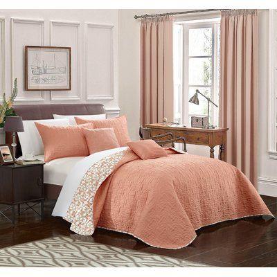 Latitude Run Hubbard 12 Piece Reversible Quilt Set Size: Queen, Color: Coral