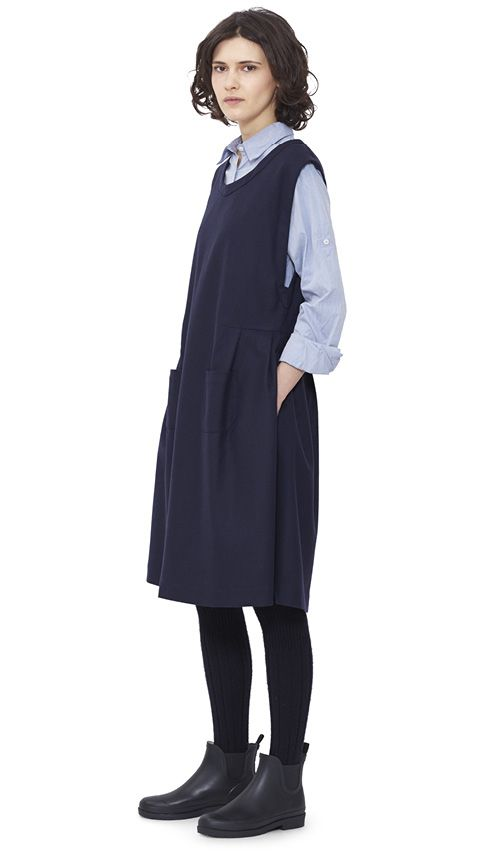 WOMEN AUTUMN WINTER 15 - Dark navy wool Pinafore Dress MHL, blue cotton Single Pocket Shirt MHL, navy Shetland wool Knee High Sock MHL, black pvc Ankle Wellie MHL