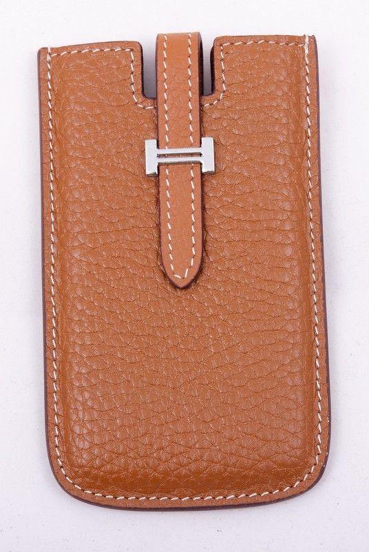 Чехол для iPhone 4/4s Hermes (Гермес) кожаный, коричневого цвета. Внутренний размер 11.5x6cm #19531 !! Распродажа модели !! Модель со скидкой !!
