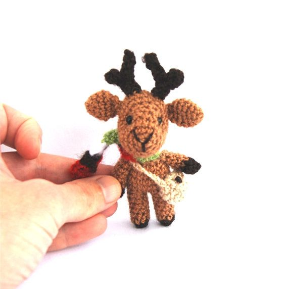 $23.68 REINDEER Ornament to fill #AdventCalender, Miniature #Holiday Figurine, Tiny Stocking Filler, #Christmas Countdown Calendar Stuffer, Kids Toy by crochAndi