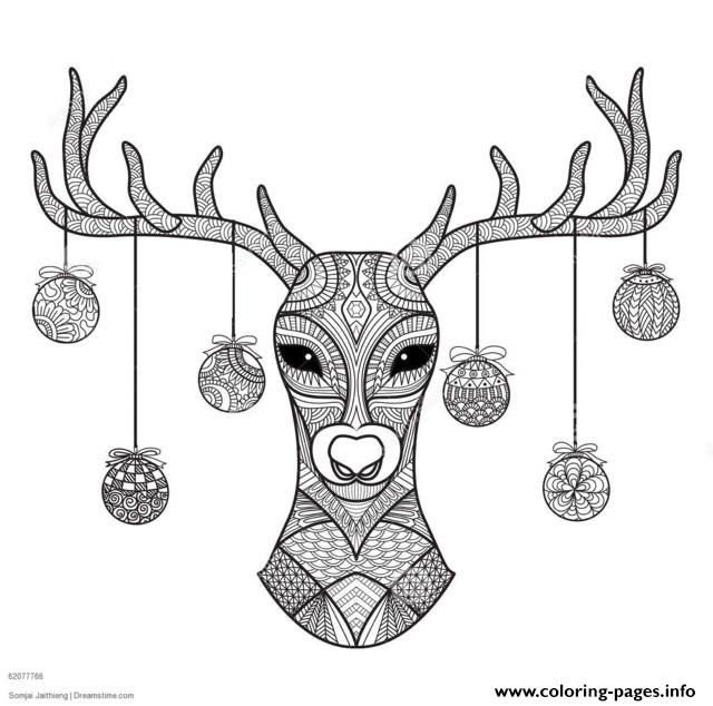 Hand Drawn Deer Head Christmas Coloring Pages Printable And Book To Print For Free Find More Online Kids Adults Of