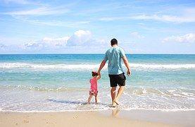Vader, Dochter, Strand, Zee, Familie