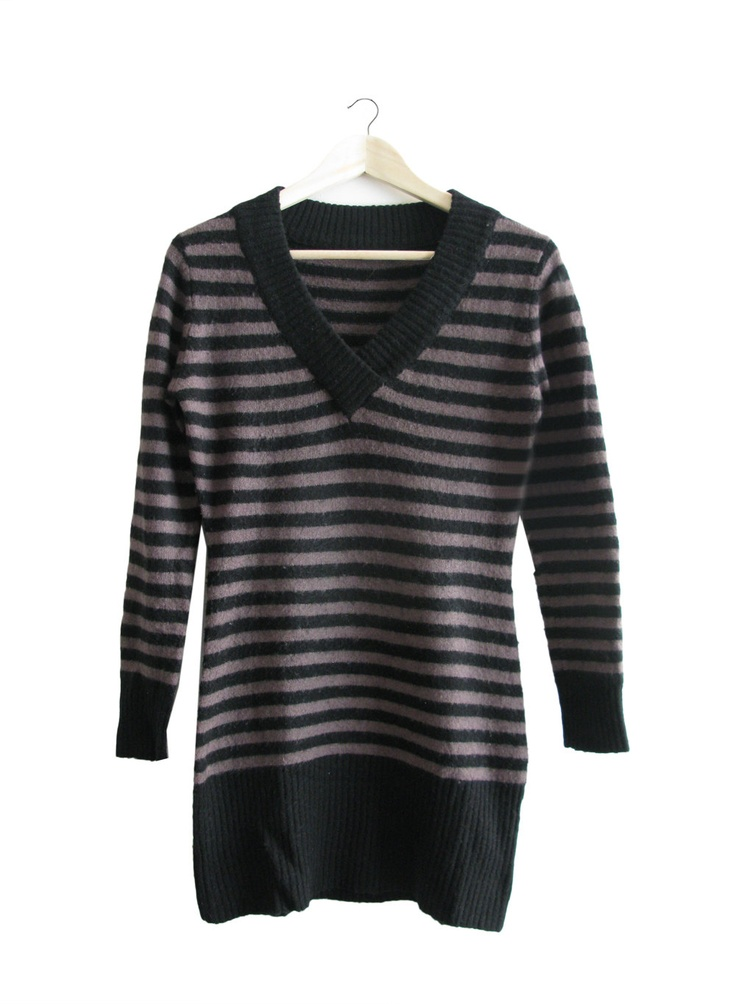 Striped Mohair Sweather Dress - Black and Tan - 1990. $35,00, via Etsy.