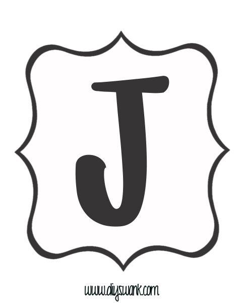 Free Printable Black and White Banner Letter_J