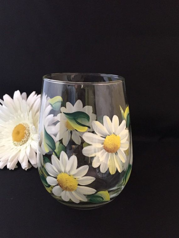 Wine glasses White daisy flower stemless wine by Brusheswithaview