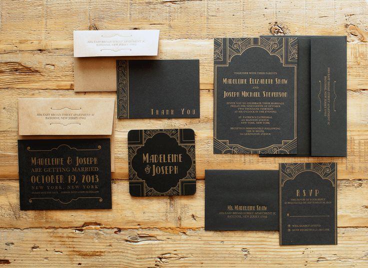 http://blackbirdletterpress.com/wedding-collection/art-deco Blackbird Letterpress Art Deco wedding suite #letterpress #artdeco #wedding