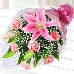ピンクユリの花束521219|母の日フラワー