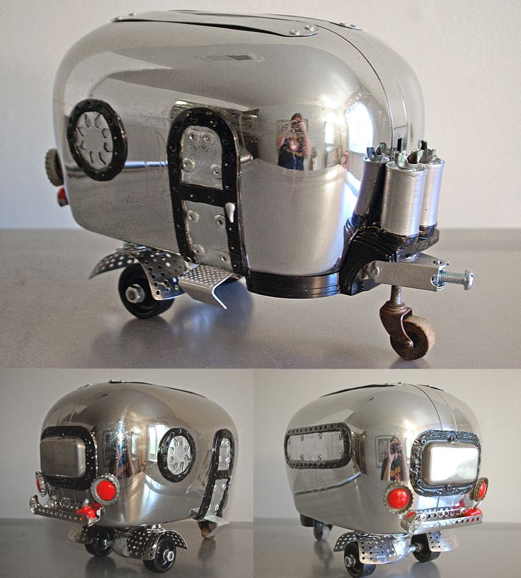 Airstream (toaster) trailer. Found object art, upcycle
