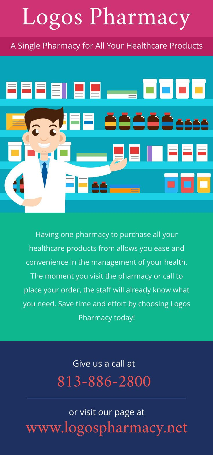 Save time and effort by choosing Logos Pharmacy today! Give us a call at 813-886-2800 or visit our page at http://www.logospharmacy.net/.     #HealthcareProducts