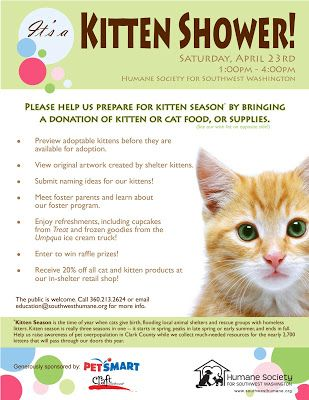 Kitten Shower invite; Great ideas for the shelter's first puppy and kitten shower