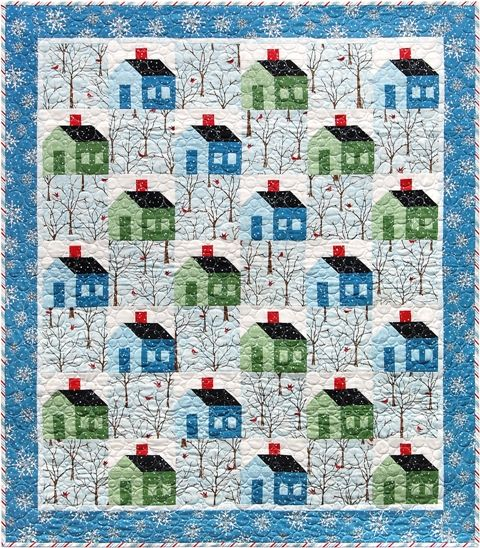 """Snow Days quilt, 43 x 49"""", pattern by Janet Locey at Hen Scratch Quilting"""