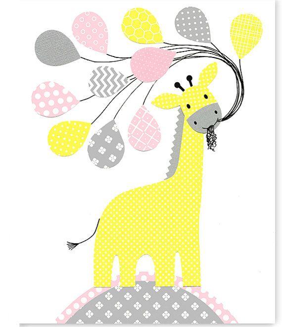 GIraffe Nursery Art, Gray Pink Yellow, Girl's Room Decor, Toddler Room Art, Childrens Wall Art, Playroom Decor, Baby Shower Gift, Baby Girl