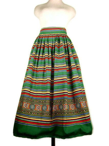 1950s Gypsy Skirt  Colorful Green Cotton Ethnic by ragsfeathers, $45.00