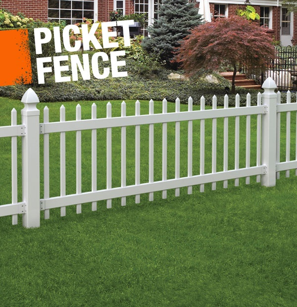 picked fence exparament Install a vinyl picket fence to accent or surround your yard and coordinate with the house and porch rails.
