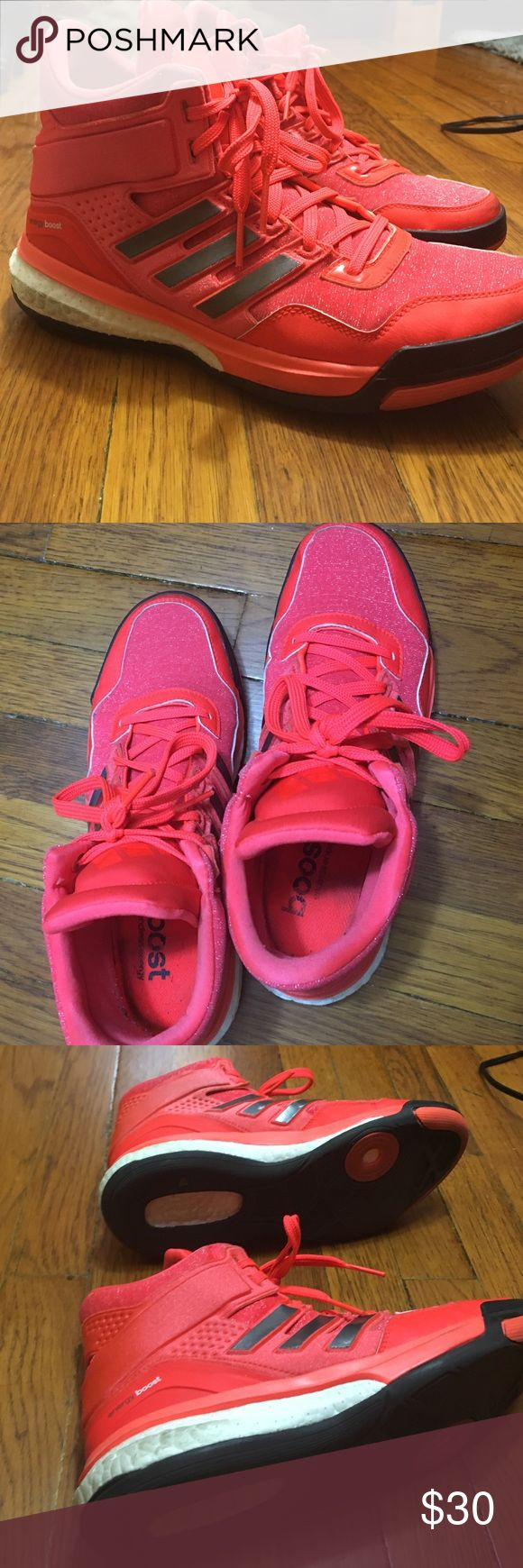 Adidas energy boost neon orange Zumba sneakers Used these for a few Zumba classes. A little too large for me but I love the design. Comfortable sneaker!! All reasonable offers accepted- don't be shy!! ✅✅ Adidas Shoes Sneakers