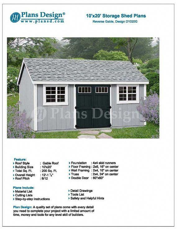 10 X 20 Garden Storage Gable Shed Plans Blueprints Material List Detail Drawnings And Step By Sheddes Shed Plans Storage Shed Plans Garden Storage Shed
