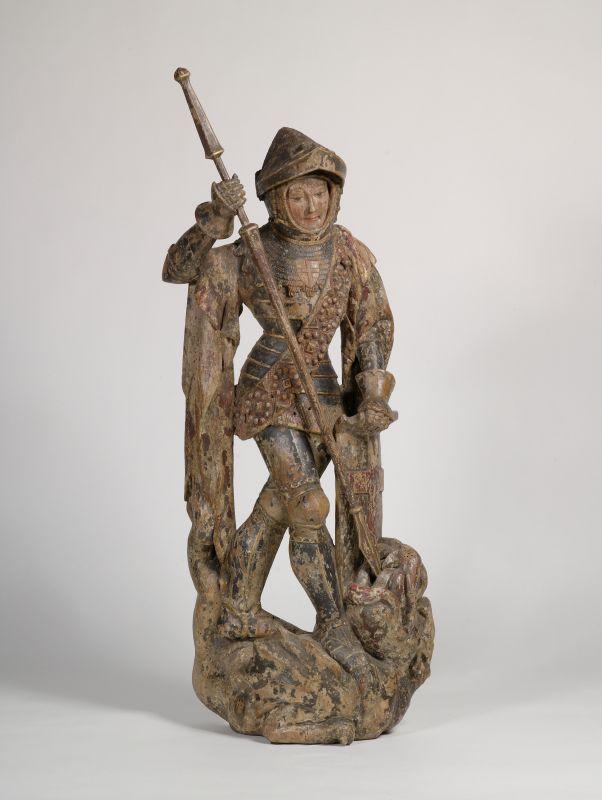 Germanisches Nationalmuseum,  Statuette de Saint-George,  Aux alentour de 1400.  Chêne peint,  Bourgogne?, Pays-Bas?, Liège?  Hauteur: 83cm.