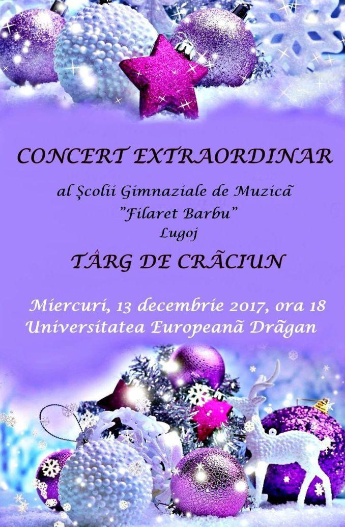 """Elevii și profesorii Școlii Gimnaziale de Muzică """"Filaret Barbu"""" organizează, în premieră, un concert vocal-instrumental extraordinar, urmat de un târg de Crăciun. Acest eveniment va avea loc mierc…"""